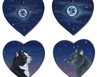 Moonlight Cat Hanging Hearts - Wishing on a Star - Acrylic on Wood, Wooden Heart, Black and White Cat, Grey Cat, Pet
