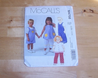 McCall's Sewing Pattern 4756 - Baby Toddler Clothing Pattern - Overalls, Shirt, Tunic, Pants - Childrens Clothing Pattern