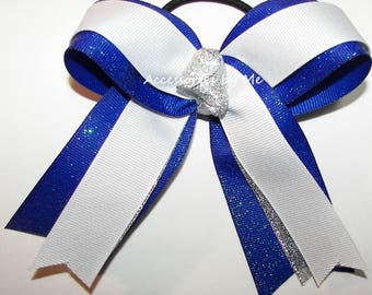 Gymnastics Bow, White Silver Blue Ribbons, Sparkly Gymnastic Clip, Gymnast Hair Ties Elastics, Royal White Dance Cheer Bow, Bulk Cheap Price
