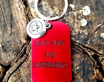 Personalized Superhero Keychain, Superman Keychain, Batman Keychain, Captain America Keychain, Flash, Thor Gifts For Him, Dad Christmas Gift