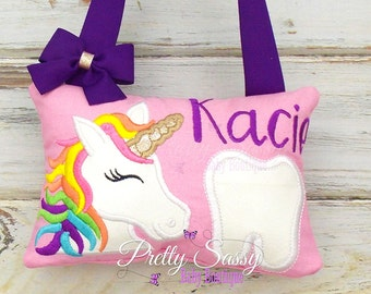 Tooth fairy pillow, Unicorn tooth pillow, Rainbow pillow, Rainbow unicorn girl birthday gift,  FREE DIGITAL Tooth Chart & Tooth Fairy Recipt