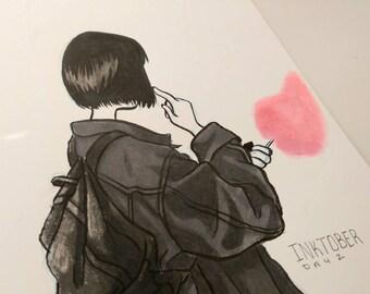 Original INKtober Fashion Piece - Grey Jacket, Original Art, Original Ink, Original Artwork, Original Drawing, Fashion Art
