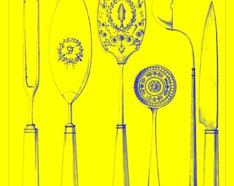 Vintage Drawing Print Cutlery Designs, 1815–30