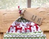Christmas Reindeer Baby Hat, Red, Newborn, Infant, Toddler, Deer, Fair Isle, Knot, Gift