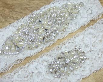 Grace Rhinestone Wedding Garter, White Lace Wedding Garter, Heirloom Bridal Garter Keepsake Garter, Toss Garter, Wedding Garter Set, Garters