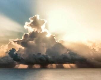 Ocean Sunrise Photo, blue and white-gold, fine photography print, Morningstar