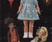 VINTAGE KNITTING PATTERN, Dolls Clothes Knitting Pattern, 14 Inch Doll Clothes Pattern, Knitting for Dolls, Sindy Knitting Pattern, Baby