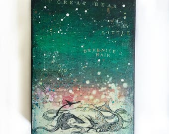 Mermaid under the Stars Painting on Canvas, starry night, ocean sea mermaid art, mixed media