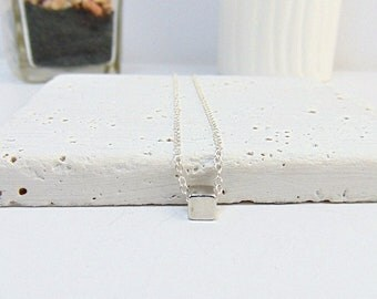 Silver Cube Necklace - Sterling Silver Necklace - Dainty Necklace - Geometric Jewellery - Everyday Jewellery, Layering Necklace - Jewellery