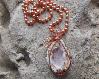 Handmade crystal druzy slice agate wire wrapped in copper necklace