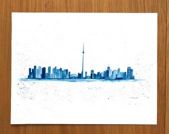 Toronto art panorama painting Toronto skyline, Toronto skyline, Toronto panorama painting Toronto art, Canada, 16 x 12 inch