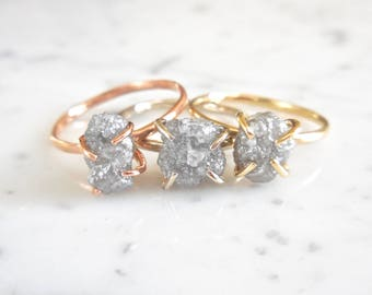 Custom Rough Diamond Ring, Made to Order, 14kt Rose, White or Yellow Gold, Raw Diamond, Modern Diamond, Natural, Conflict Free, 2 Carats