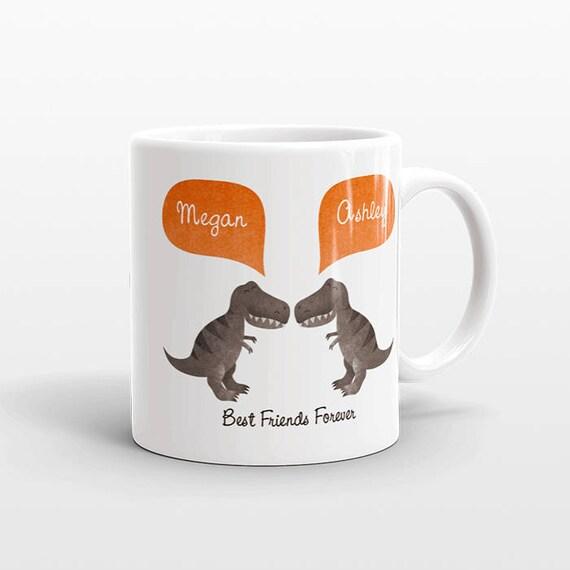 Best Friend Gift, T-Rex Dinosaur Mug, Personalized Best Friend Mug, Animal Best Friend Coffee Mug, Unique Friendship Gift, Birthday Gift