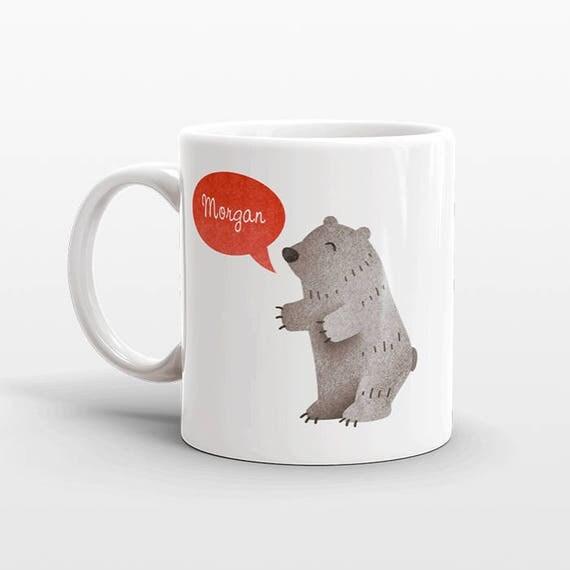 Custom Name Mug, Grizzly Bear Mug, Personalized Mug, Unique Coffee Mug, Office Mug, Best Friend Gift, Birthday Gift, Cute Animal Lover Gift