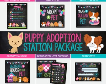 Pet Adoption Station Party Package, Puppy Adoption Party, Chalkboard Puppy birthday, Digital files, 7 prints, Instant download