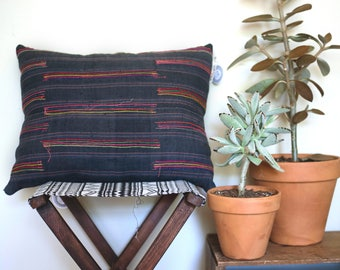 Vintag Hmong Hemp Throw Pillow