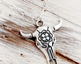 Floral Steer Skull Southwest Vibes Bohemian Silver Necklace