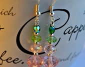 Pink and Green Crystal Earrings // Gift Idea // Dangle Earrings