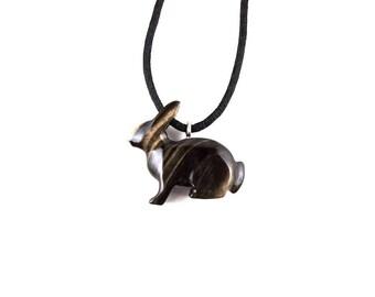 Rabbit Necklace, Bunny Pendant, Rabbit Pendant, Bunny Necklace, Wood Bunny Necklace, Wooden Rabbit Totem Jewelry, Hand Carved Animal Pendant