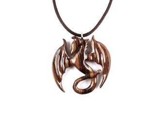 Dragon Necklace, Dragon Pendant, Dragon Jewelry, Wood Dragon Necklace, Wood Carved Pendant, Wooden Dragon, Wood Jewelry, Fantasy Jewelry