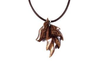 Fox Pendant, Fox Necklace, Fox Jewelry, Wooden Fox Pendant, Wood Fox Necklace, Fox Totem Jewelry, Fox Spirit Animal, Wooden Animal Pendant