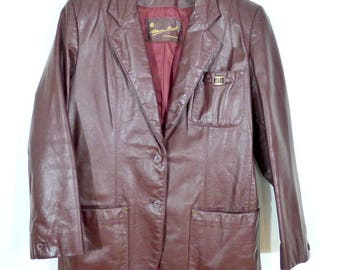 Vintage Etienne Aigner Leather Blazer // Retro Oxblood Leather Blazer