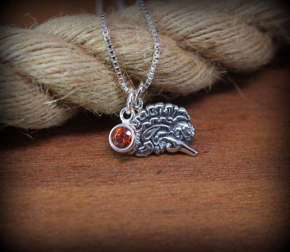 Sterling silver brain and birthstone necklace, psychology jewelry, survivor