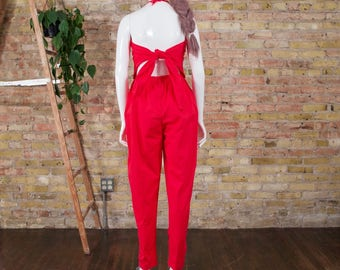 tie back jumpsuit / red jumpsuit / halter jumpsuit / minimalist / backless jumpsuit / pleated jumpsuit / 80s jumpsuit / colorblock / slouchy