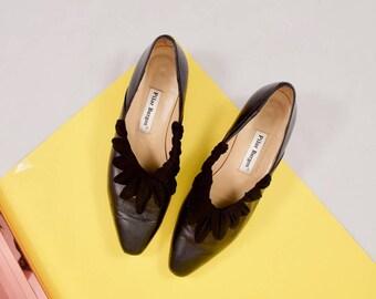 black leather heels / low heel pumps / black low heels / 7.5 - 8 / 38 / minimalist / pointed toe / bow heels / 90s minimalist heel / woven