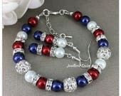 Red White and Blue Pearl Bracelet Patriotic Jewelry American Flag Jewelry Pearl Jewelry Patriotic Gift July 4th USA Independence Day