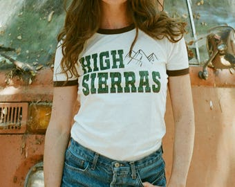 High Sierras ringer tee-Vintage inspired-women's 70s tee-womens t shirt-80s- Retro-Graphic Tee-1970s-Made in USA-California-Camp