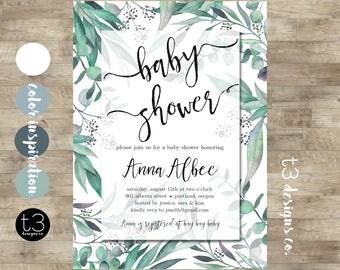 Gender Neutral Baby Shower Invitations, Gender Neutral Invite, Watercolor Eucalyptus Baby Shower, Boy Baby Shower Invitation, Neutral Leaves
