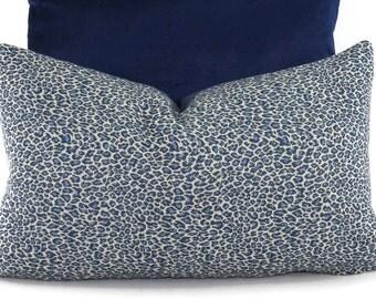 Navy, Medium Blue & Off White Woven Cheetah Print Lumbar Pillow Cover, 12x20