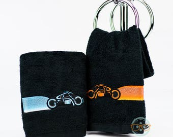 TRON Hand Towel Set - His and Her - Light Cycles - Movie Embroidered Geeky Bathroom Towel Decor