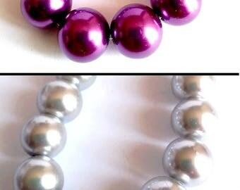 10 pearls 14mm glass, light grey or purple