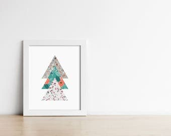 PRINTABLE Terrazzo Floral Triangle Art - Geometric Modern Wall Art - Office Decor - Housewarming gift - Gallery Print Digital - SKU:3823