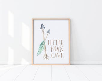 Woodland Nursery Art Printable - Little Man Cave - Watercolor Arrows - Teal Green - Baby Boy Nursery - Art Print - Nursery Decor - SKU:6997