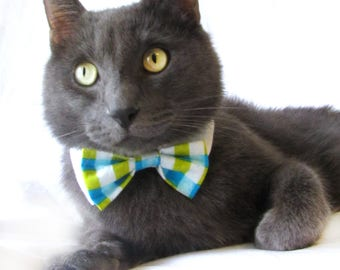 Teal and Lime Green Plaid Bow Tie, Necktie, or Bow on a Shirt Style Collar for both Dogs & Cats