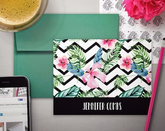Anniversary Gift | Stationery Gift for Woman | Mothers Day Gift | TROPICAL CHEVRON | Personalized Stationary Note Cards | Floral Notecards