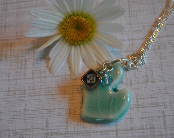 Ceramic Michigan pendant with M22 charm, Michigan necklace, Up North