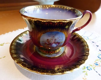 SOVEREIGN fine china teacup - purple, gold and pastoral scene