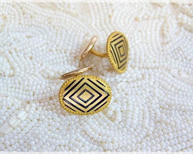 Black and gold herringbone pattern cufflinks