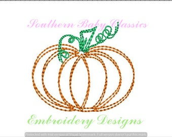 Pumpkin Fall Autumn Design Vintage Stitch Bean Hand Look Quick Mini File for Embroidery Machine Monogram Instant Download