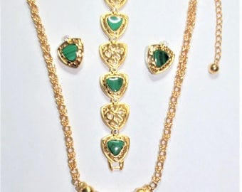 3pc Jackie Kennedy Malachite Gemstone Necklace SET with Box and Certificate