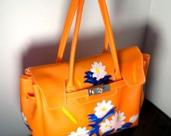 Vintage Orange Plastic Handbag with Hand Painted Flowers - 1970's