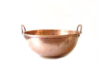 French Antique Copper Bowl with handles Copper mixing bowl Kitchen Decor 40 cm