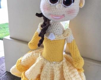 Belle Doll ~ Crochet Belle ~ Beauty and the Beast Doll ~ Soft Plush Belle ~ Disney Princess