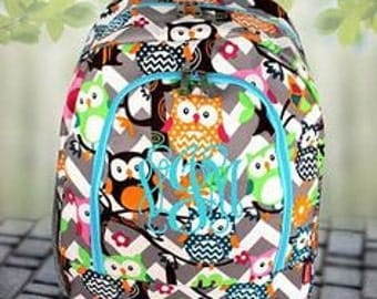 Girls Personalized Grey Chevron Owl Monogrammed Girls Book Bag