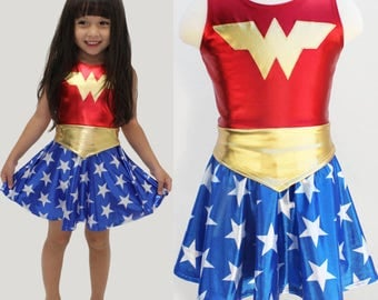 Girls wonder woman costume 4th of july  blue and red gold metallic halloween