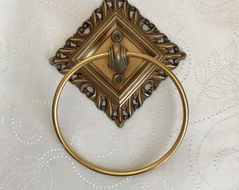 Hollywood Regency Decorative Ornate Gold Ring Vintage Hand Towel Holder for Bathroom, Home Remodeling Renovating Decorating Idea
